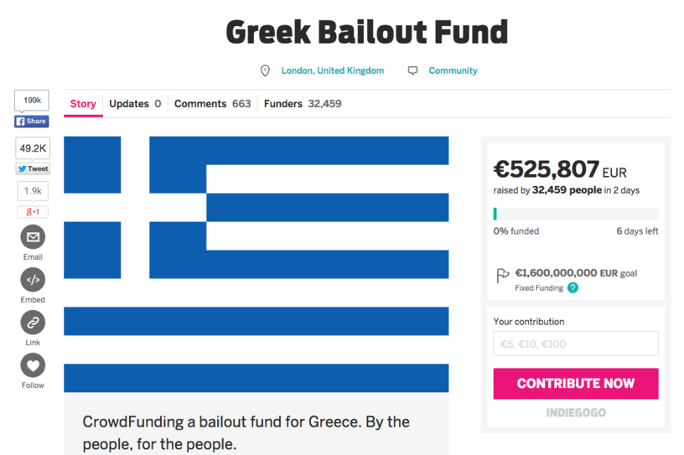 A Crowdfunding Campaign, started by a British Man To Pay Off Greece's Debts